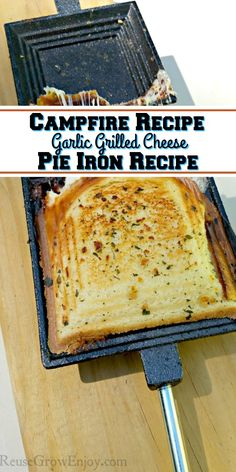 Next time you go camping, try this campfire recipe. It is a garlic grilled chees. Next time you go camping, try this campfire recipe. It is a garlic grilled cheese pie iron recipe. Best grilled cheese you will ever have! Camping Grill, Camping Meals, Camping Food Pie Iron, Camping Dishes, Backpacking Meals, Kayak Camping, Ultralight Backpacking, Camping Tips, Mountain Pie Recipes