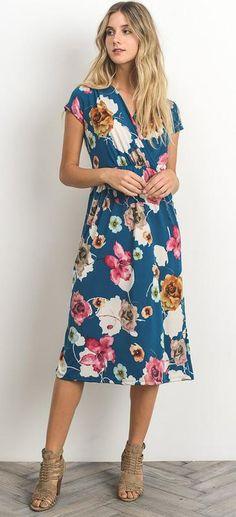 Lindsey Dress: a teal floral modest dress from ModestPop.com