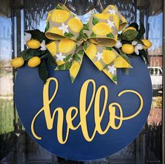 Wooden Door Signs, Wooden Door Hangers, Wooden Wreaths, Door Wreaths, Wood Circles, Front Door Decor, Front Porch, Porch Decorating, Lemon Decorating