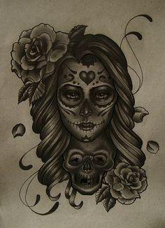 mexican skull women art | Tattoo Mexican Skull Girl - LiLz.eu - Tattoo DE