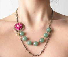 Green Jade Necklace, Gemstone Jewelry, Pink Flower Necklace, Emerald Jewelry