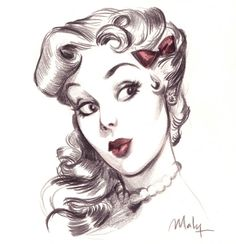 pin up girl drawing - Google Search