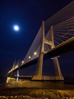 The Vasco da Gama bridge is the longest in Europe, with almost 18 km.This photo was taken from the Parque do Tejo, Lisbon, Portugal.