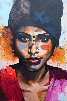 Paint your canvas aka your skin, with only the best skin food---Angie Watts —- Dope artwork by ANETTE TJÆRBY African American Art, African Art, Tableau Pop Art, Guache, Black Women Art, Portrait Art, Portraits, Art Plastique, Face Art