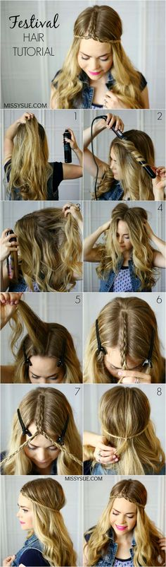 [ Quick And Easy Hairstyles For School : Festival Hair Tutorials - Festival Hair Tutorial With Pictures - Short Quick and Easy Tutorial Guides and How Tos Summer Hairstyles, Pretty Hairstyles, Braided Hairstyles, Hairstyle Braid, Holiday Hairstyles, Braided Updo, Hairstyle Ideas, Medium Hair Styles, Curly Hair Styles