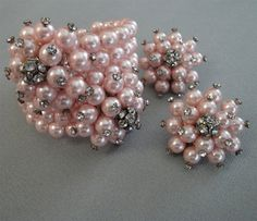 Vintage Bracelet and Earrings Set in Petal Pink Pearls in a coil style with silver rhinestone balls and light pink faux pearls
