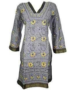 Womans Long Tunic- Grey Yellow Embroidered Cotton Hippy Dress X-small, Gift Idea Mogul Interior http://www.amazon.com/dp/B00WJWISDI/ref=cm_sw_r_pi_dp_MVaBvb1G8JSQH