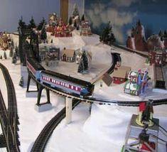 Lemax Christmas Village and Lionel train set #lioneltrains