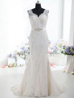 ウェディングドレス Vネック ソフト マーメイド レース リボン h5pn0289 価格 ¥56,700
