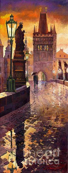 yuriy shevchuk | Prague Charles Bridge 01 Painting by Yuriy Shevchuk | Art!