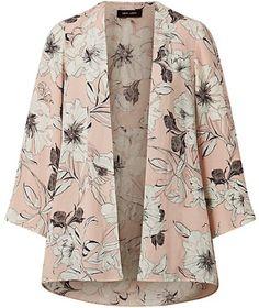 Kimono en crêpe rose à imprimé floral ecrus et noir TopShop