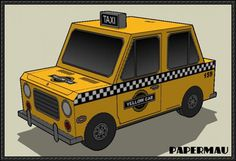 Simple Yellow Cab Taxi Paper Car Free Paper Model Download - http://www.papercraftsquare.com/simple-yellow-cab-taxi-paper-car-free-paper-model-download.html