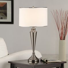 @Overstock - Brushed Nickel Contemporary Table Lamp (Set of 2) - Impress guests who visit your home with this luxurious table lamp. With its smooth brushed nickel finish, this table lamp is completed by a white that that features matching nickel trim.  http://www.overstock.com/Home-Garden/Brushed-Nickel-Contemporary-Table-Lamp-Set-of-2/9237620/product.html?CID=214117 $134.99