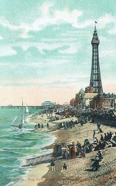 Victorian Blackpool tower and beach Blackpool Beach, Blackpool Pleasure Beach, Beach Images, Beach Photos, Seaside Pictures, British Seaside, British Summer, British Isles, Vintage Postcards