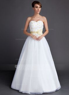 Wedding Dresses - $168.99 - A-Line/Princess Sweetheart Floor-Length Taffeta Organza Wedding Dress With Sash Flower(s) (002015901) http://jjshouse.com/A-Line-Princess-Sweetheart-Floor-Length-Taffeta-Organza-Wedding-Dress-With-Sash-Flower-S-002015901-g15901