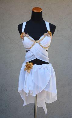Clothing greek greece costume toga honeymoon bridal rave burlesque burning man halloween roman queen white wonderland