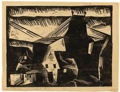 THÜRINGISCHES DORF By Lyonel Feininger Artwork Description Dimensions: 33.4 x 43.6 cm (36.8 x 48 cm) (13 ⅛ x 17 ⅛ in. (14 ½ x 18 ⅞ in.)) Medium: Woodcut on thin paper Creation Date: 1918