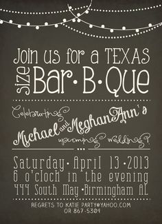 Chalkboard Couples Shower BBQ Bridal Invites by allisonpowelldesigns