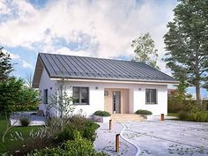 20 Modern Polish Bungalow You Can Build Under With Floor Plan You Can Copy! Box House Design, Simple House Design, Bungalow House Design, Cool House Designs, Bungalow Ideas, Small Cottage Designs, Double Story House, Beautiful Small Homes, Farm Plans