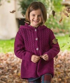 Yarns for Knitting and Crochet Patterns Knit Cardigan Pattern, Hoodie Pattern, Jacket Pattern, Kids Knitting Patterns, Knitting For Kids, Free Knitting, Knitting Projects, Girls Sweaters, Baby Sweaters