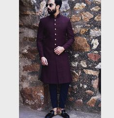 Burgundy Wine Handwoven silk Sherwani with Printed Tapered Trousers must have attire for the Wedding Season. Wedding Outfits For Groom, Wedding Dress Men, Indian Wedding Outfits, Indian Men Fashion, Mens Fashion Suits, Mens Wedding Wear Indian, Indian Groom Dress, Mens Traditional Wear, Gents Kurta Design