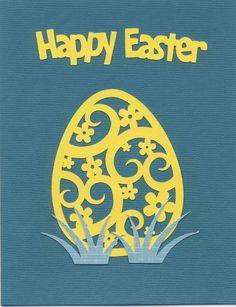 2015-043 Easter - SILHOUETTE: 5 pc Grass, Easter Egg Shape Card, Happy Easter sentiment