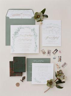 Rustic chic olive green wedding paper suite: http://www.stylemepretty.com/2016/08/29/fall-santa-ynez-vineyard-wedding/ Photography: Jose Villa - http://josevilla.com/