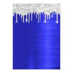 Silver Spark Glitter Drips Royal Blue Bridal 16th Invitation