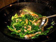 Thai stir-fry with pork, gai lan, shallots, garlic, and chilies