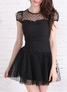 Black Polka Dot Bodice & Bow Embellished Dress,  Dress, black polka dot bows lbd, Chic