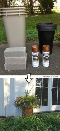Use Cheap Plastic Trash Cans As Planters. With A Little Bit Of Spray Paint  And They Look High End.