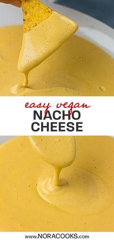 Easy Vegan Nacho Cheese Sauce Easy Vegan Nacho Cheese Sauce Elsa Rosenrot ElsaRosenrot Leckereien This vegan nacho cheese sauce is well awesomesauce Creamy gooey nacho nbsp hellip Vegan Cheese Best Vegan Cheese, Vegan Cheese Recipes, Vegan Cheese Sauce, Dairy Free Cheese, Vegan Sauces, Vegan Foods, Vegan Dishes, Dairy Free Recipes, Vegan Cheese Recipe With Cashews
