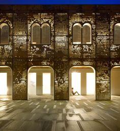 rehabilitation of Palazzo di Vigonovo , Venice, Italy - perforated corten steel on the facade : 3ndy Studio and artist Giorgio Milani