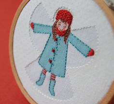 Snow angel stitchery... cute!