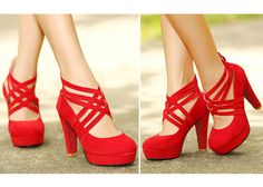 #shoes  #womensshoes  #Womensfashion  - Wedding Women's Chunky Heel Pumps With Cross-Straps and Zipper Design - Red Chunky heels - current price $14.32.