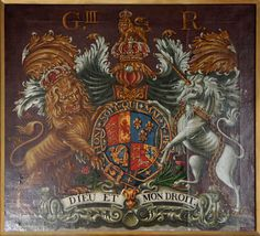 Royal coat of arms of George III in the Church of St James at Southrepps, Norfolk, England