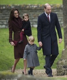 Kensington Palace have confirmed that Prince George will attend Thomas' Battersea school in September - in a break with tradition. It was thought he would attend Wetherby, where his father was educated (the three-year-old is pictured with Prince William, the Duchess of Cambridge and Princess Charlotte at church on Christmas Day in Bucklebury, Berkshire)