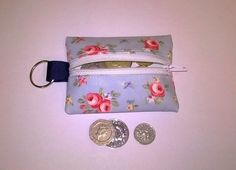 Mini coin purse key ring in Oilcloth, blue floral pattern, fits lip vaseline, £3.99