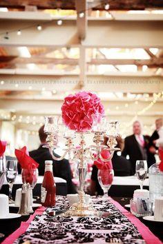 Pink & black table settings.