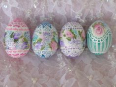 Shabby Cottage Chic Hand Painted Easter Eggs Gourds 4 Roses Victorian Lace | eBay