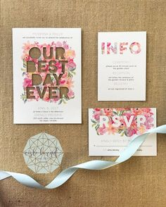 Best Day Ever Floral Wedding Invitations, Wedding Rsvp, Summer Wedding Guests, Wedding Invitation