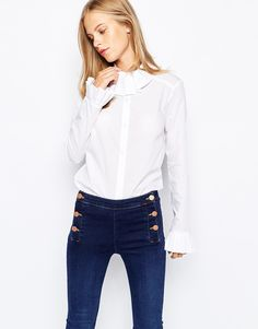 Image 1 of Lost Ink Shirt with Frill Collar and Cuff