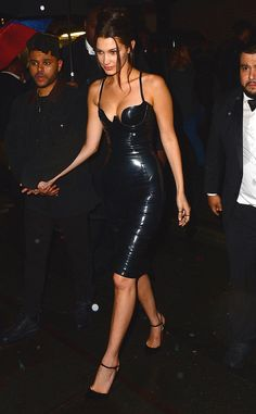 Lovely in Latex from Bella Hadid's Best Looks  While this Atsuko Kudo Paris Pencil dress was made famous by Kim K., it's clear that Bella can also pull of the latex look, which she proves at the 2016 Met Gala after-party.