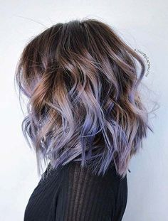 Curly Layered Lob Lavender Highlights