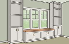 If you have a blank wall with a window, the simplest way is to flank the opening with ready-made shelving or wardrobe units and span the distance with a seat. The trick is getting the measurements right. Standard shelf depth is 12 or 16 inches; for comfort, the window seat should stand proud, for a total depth of about 18 inches. Wardrobe units for hanging clothes are about 2 feet deep, so here it's best to recess the seat by 6 inches or so. That way, you can sit facing into the room with…