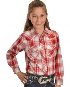 Red Ranch Pink Plaid Embroidered Shirt - Sheplers