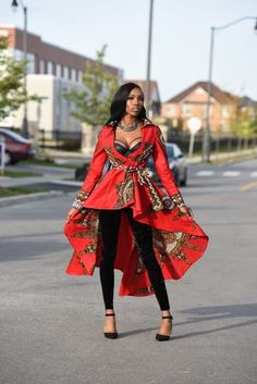 Red African print dress Jacket Royal Java print African clothing