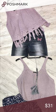 Crop sweater fringed Adorable crop fringed sweater pair with anything BLVD Sweaters