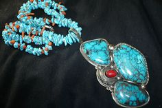 HUGE NAVAJO STERLING SILVER TURQUOISE CORAL NECKLACE NATIVE AMERICAN DEAD PAWN in Jewelry & Watches | eBay