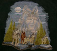 Indian Wolf Spirit Indian Wolf, Native Indian, Native American Indians, Wolf Spirit, Man Art, Wolves, Alaska, Nativity, Machine Embroidery
